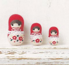 Cute Needle Felt Matryoshka doll Mascot Needle Felting Kawaii Russian Doll Crafts Making Tutorial pdf E PATTERN in Japanese