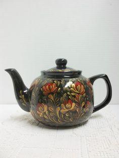 Teapot Black Ceramic Hand Painted Scandinavian by FolkArtByNancy