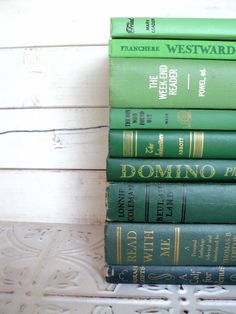 Green Books Ombre Instant Library Collection Decorative Books Photography Props Shades of Green. , via Etsy.