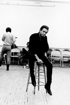 Johnny Cash on the set of The Jimmy Dean Show, New York, 1964.