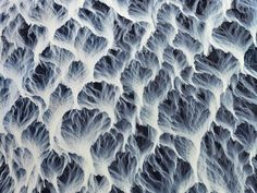 Aerial view of river delta in Iceland.