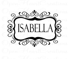 Name Vinyl Wall Decal - Personalized Shabby Chic Baby Nursery Vinyl Wall Art with Swirl Frame 22H x 32W FN0328. $45.00