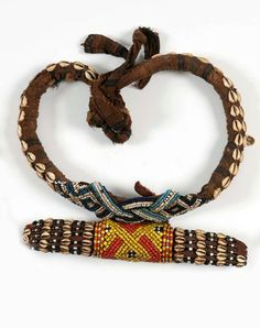 Africa | Belt from the Kuba people of DR Congo | Fabric, shells, glass beads and leather