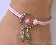 dream catcher bracelet, turquoise bracelet,feather bracelet,pink turquoise,dreamcatcher,dreamcatcher bracelet,christmas gift,blessedgarden