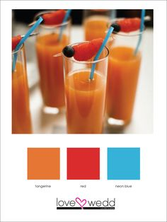 orange, red, blue #color palette #wedding