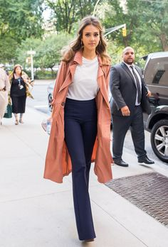 Jessica Alba trench coat and trousers