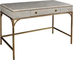 Desk ALDEN PARKES Neo-Classic Lacquer Eggshell Brass Inlay Solid Base New AP-164