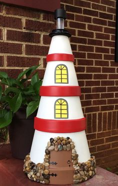 Clay Pot Lighthouse by CreativeCreationsGWD on Etsy