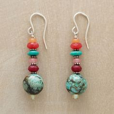 """TROPICAL SUNSET EARRINGS--A sunset streak of red aventurine, turquoise, red and cherry jade, ruby quartz and seed beads leads to cool orbs of matrixed turquoise. Sterling earwires. Handmade in the USA. Exclusive. Approx. 1-3/4""""L."""