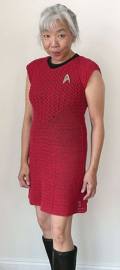 Doris Chan made/wore this amazing #StarTrek dress to the CGOA conf. in 2012. #crochet