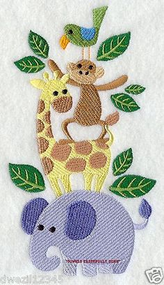 JUNGLE ANIMALS STACK - - 2 EMBROIDERED HAND TOWELS by Susan
