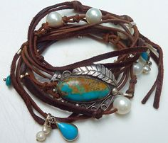 leather, antique sterling silver, turquoise, pearl wrap bracelet