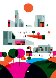 """""""City of the Future"""" - Illustrations for Prelios by Daniel Annbjer, via Behance"""