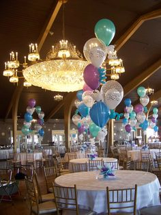 """Balloon Centerpieces using 5, 16"""" latex balloons with curly-Qs"""
