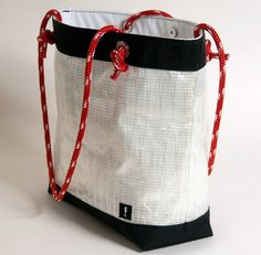Ebb Tide sail cloth tote bag with grommet rope handles and magnetic closure