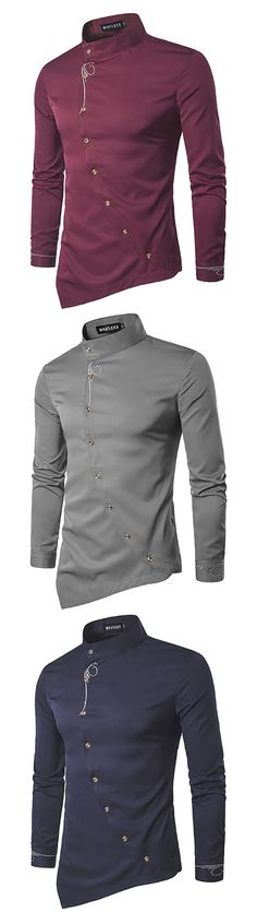 [Online Shopping] Casual Embroidery Long Sleeve Shirts for Men #menswear #shirts #casual