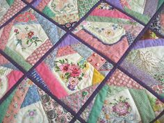 Quasi-Crazy Quilt from Vintage Scraps and Embroidery from Quilting Board.