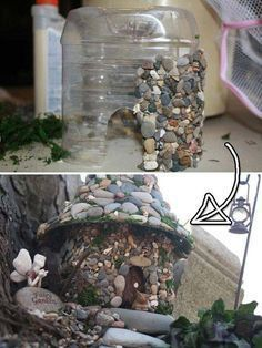 Fairy house for your garden made out of a juice jug