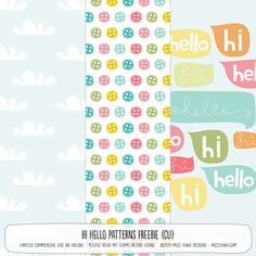 Hi Hello Patterns Free papers #Printables
