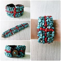 Turquoise and Red Stones Bracelet Handmade Cuff Bracelet Woven Wax | GoldenWorld - Jewelry on ArtFire