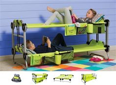 """Kid-o-bunk"" bed set in green or blue.  Portable, storable, great functionality for travel with kids or even keeping a set at the grandparent's house.  Pretty cool invention."