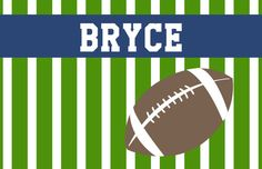 """Personalized Placemat - matches kids plate and dishsets laminated 12x18"""" football"""