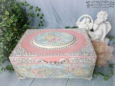 """Купить Шкатулка """"Блаженство"""" - кремовый, голубой, цветочный, декупаж и роспись, контурная роспись, шкатулка"""