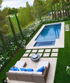 Perfect pool with patio for a long and narrow backyard like mine. A girl can dream! Small Backyard Pools, Backyard Pool Landscaping, Backyard Pool Designs, Small Pools, Swimming Pools Backyard, Swimming Pool Designs, Landscaping Ideas, Small Pool Design, Dream Pools