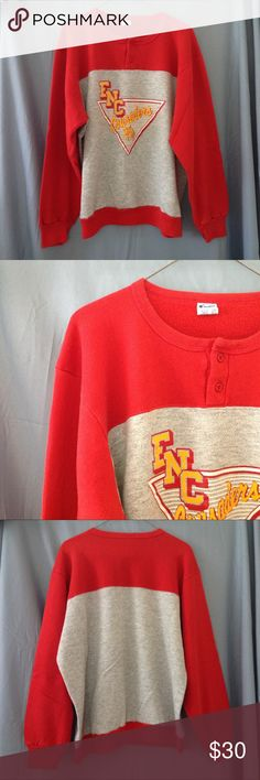 """70s/80s ENC CRUSADERS lightweight college sweats Red and gray vintage 70s/80s EASTERN NAZARENE COLLEGE CRUSADERS lightweight sweatshirt.  ENC is located in Quincy, Massachusetts.  The sweatshirt is in good condition, but has a small amount of pilling on the underarms.  The graphic is in good condition with a minimal amount of cracking.  See pics.  Made in the USA.  Brand is Champion.  Colors may look different on your screen.  The tag says XL.  I measure it at approx 24"""" across the chest and…"""