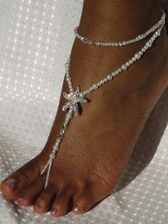 Swarovski Starfish Foot Jewelry Wedding by SubtleExpressions, $42.00