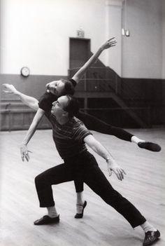 Choreographer George Balanchine rehearsing with Maria Tallchief, New York City Ballet, New York, 1958via  crazy70s