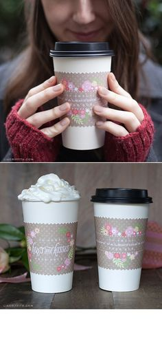 Printable Valentine's Day Coffee Cup Wraps. For more ideas, inspiration and free printable visit www.liagriffith.com
