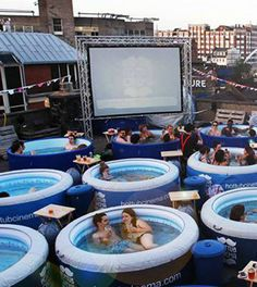 Dim the lights grab the popcorn and enjoy! 14 of the Coolest Movie Theaters i. Dim the lights grab Outdoor Theater, Outdoor Cafe, The Cooler Movie, Backyard Movie Theaters, Sleepover Party, Beach Bars, Cafe Design, Pool Designs, Outdoor Entertaining