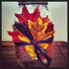 Hand Decorated Mason Jar Fall/ Harvest/ Thanksgiving Decor on Etsy, $8.95