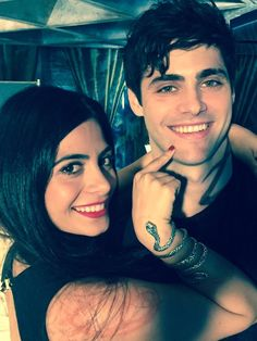 The Lightwood siblings: Alec and Izzy. A behind the scenes shot of Matthew Daddario   and Emeraude Toubia  who are playing the siblings. Notice Izzy has her bracelet on and we can see Shadowhunter marks on Alec's neck.
