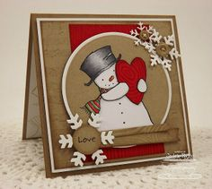 by Jackie Pedro - MFT's Pure Innocence Happy Heart Snowman stamp and other amazing MFT products!