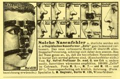 """1. Potato Nose  2. Saddle Nose  3. uckbill Nose  7. Wide Nose 4. Pointy Nose  5. Long Nose  6. Hook Nose  8. Slant Nose  Normal Form  Greco-Roman  ""SUCH NOSE ERRORS and similar will be quite significantly improved with the orthopedic nose former ""Zello"".  The new and improved Model 20 exceeds all others.  Double-layered padding clings exactly to the anatomical structure of the nose so that the affected nasal cartilage is normal-shaped in a short time.  (Bone deformities are not.)"""