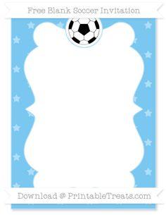 Free Pastel Light Blue Star Pattern Blank Soccer Invitation