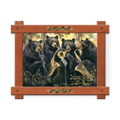 Framed in a rustic-style design, these distressed frames, are the perfect complement to the art they enhance group of four black bears playing the clarinet, saxophone and trumpet. by Mason Maloof Designs.