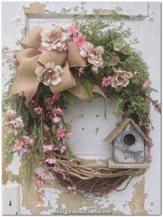 Spring Wreath Easter Wreath Summer Wreath Front Door Wreath with Birdhouse Rustic Wreath Rustic Decor FlowerPowerOhio Diy Spring Wreath, Spring Crafts, Spring Wreaths For Front Door Diy, Wreath Crafts, Diy Wreath, Wreath Ideas, Diy Crafts, Wreath Burlap, Grapevine Wreath