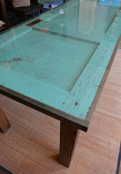 Farmhouse Dining Room Table from old door. Best idea ever!!