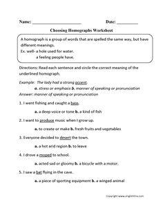 identify homographs worksheet worksheet homographs vocabulary worksheets vocabulary. Black Bedroom Furniture Sets. Home Design Ideas