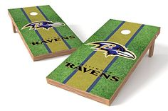 Wild Sports NFL 2' x 4' Field Authentic Cornhole Game Set  https://allstarsportsfan.com/product/wild-sports-nfl-2-x-4-field-authentic-cornhole-game-set/  Two ACA certified 2′ x 4′ target cornhole boards made from an all wood furniture grade construction. Officially licensed with NFL Eight ACA regulation size 6″ x 6″ 16 oz. double stitched  bean bags with all-weather resistant filler Full surface vinyl shield team graphic. Foldable legs for easy storage
