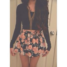 skirt shirt jewels floral skirt romper cute @justinbieber i want it so bad ! please find it love this outfit neckalace black skater skirt floral pink floral hipster black floral print skirt black, cropped, long-sleeve summer outfits cute dress floral perfect combination perfection sweetheart dresses cute outfits long sleeves crop tops top gold stringy green pleaded floral skirt