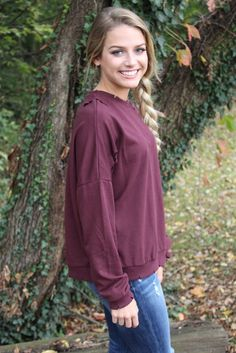 Burgundy Distressed Sweatshirt