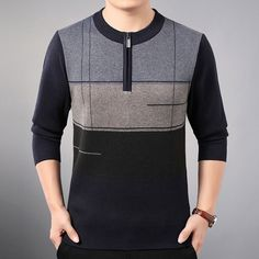 new line pull mens sweaters casual thick male pullover sweater slim fit men blusa masculina clothes jersey sweter man 31890 Gents T Shirts, Sweater Jacket, Men Sweater, Best Smart Casual Outfits, Most Stylish Men, Pullover Sweaters, Sweatshirt, Long Sleeve Shirts, Fashion Looks
