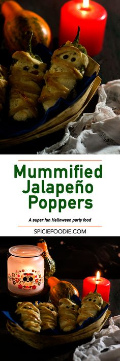 Mummified Jalapeño Poppers  | #halloween #partyfood