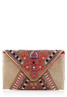Beaded Envelope Canvas Clutch Handbags Cato Fashions