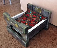 Dog Bed Made from old Ottoman and Old Clothes - Now Work of Art