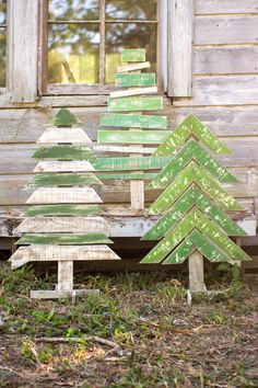 Kalalou Recycled Wooden Christmas Trees With Stands - Set Of 3